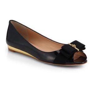 Tory Burch Trudy Black Peep Toe Ribbon Flats 9